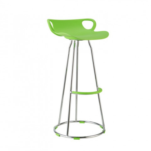 Barová židle GLADI - chrom + zelený plast