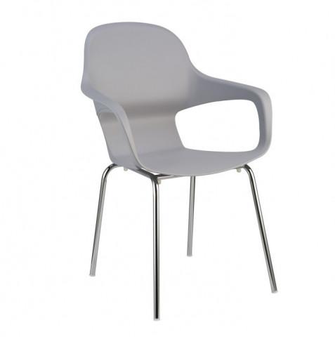 Židle DORIEN - chrom + šedý plast