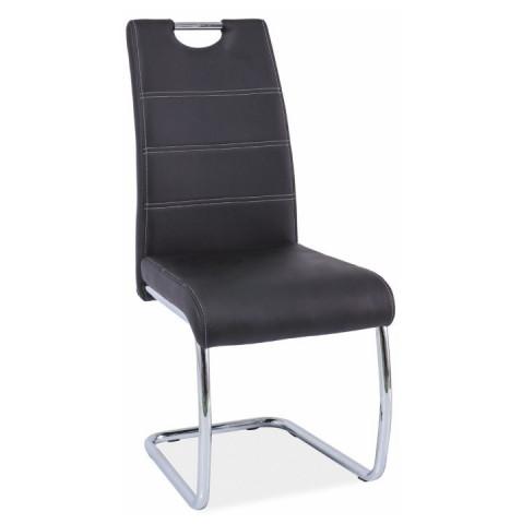 Jídelní židle ABIRA - černá ekokůže / chrom
