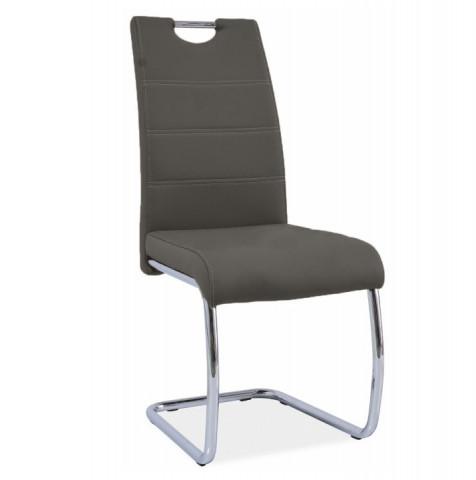 Jídelní židle ABIRA - hnědá ekokůže / chrom