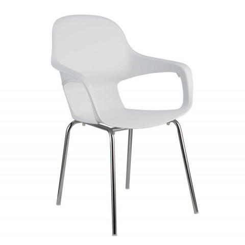 Židle DORIEN - chrom + bílý plast