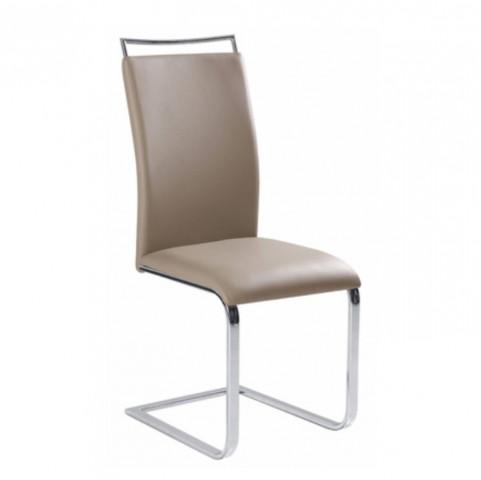 Jídelní židle BARNA - světle hnědá ekokůže / chrom