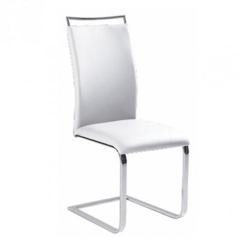 Jídelní židle BARNA - bílá ekokůže / chrom