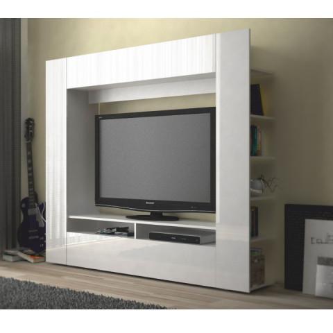 Obývací stěna MEDIA TV -  bílá/bílá pololesk