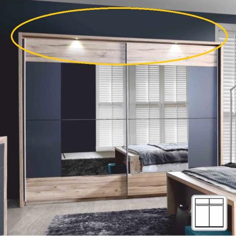 Rám na skříň s LED osvětlením 2 ks, DTD fóliovaná, buk / grafitová šedá, CAIRO