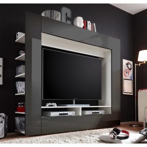 Obývací stěna MEDI TV - bílá/černá HG
