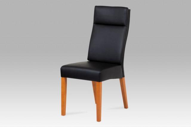 Jídelní židle BE22 - koženka černá / třešeň