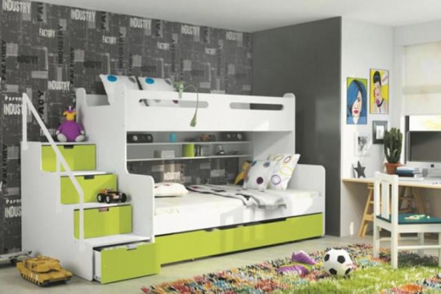Dětská patrová postel Maty zelená