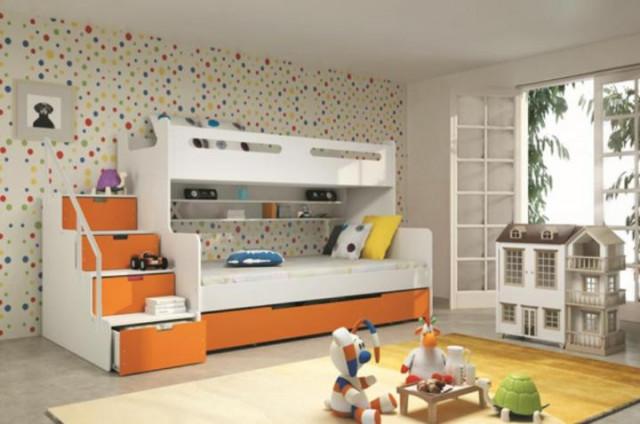 Dětská patrová postel Maty oranžová