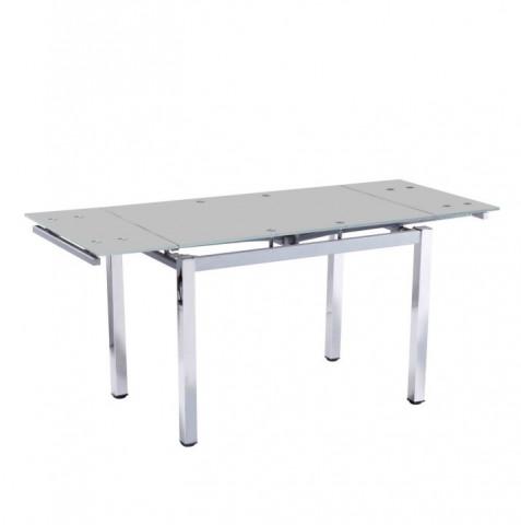 Jídelní stůl DITMAR - chrom + mléčné sklo