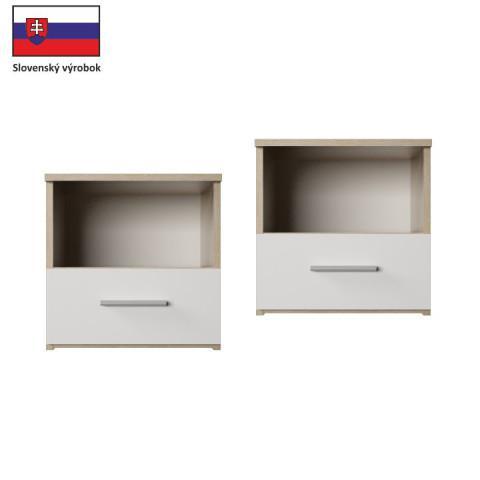 Noční stolek GABRIELA - 2 kusy, dub sonoma / bílá