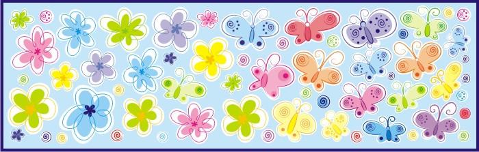 Forclaire Dekorace na zeď Motýli, květiny, kolečka - 0,5 m2