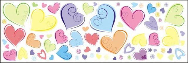 Dekorace na zeď Pastelová srdce