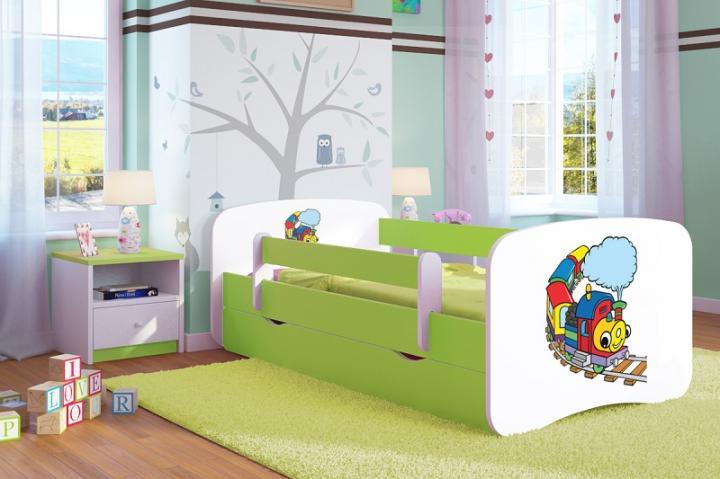 Forclaire Dětská postel se zábranou Ourbaby - Veselý vláček 140 x 70 cm