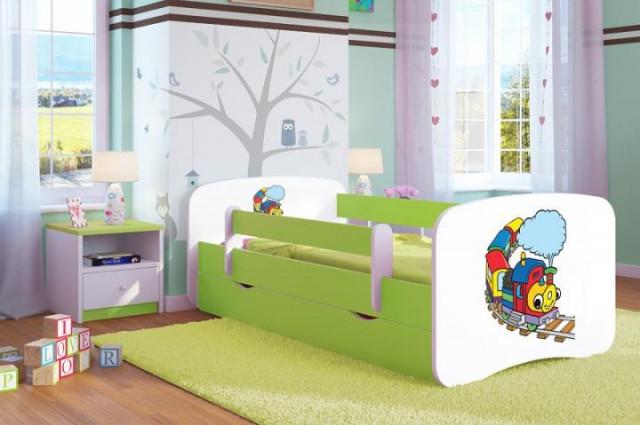Dětská postel se zábranou Ourbaby - Veselý vláček