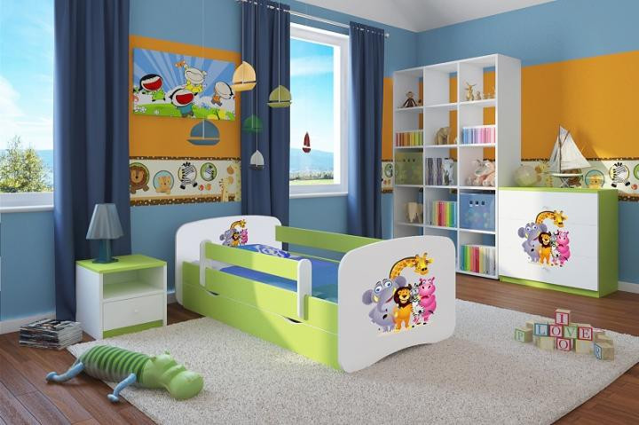 Forclaire Dětská postel se zábranou Ourbaby - ZOO II postel 140 x 70 cm