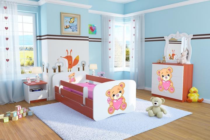 Forclaire Dětská postel se zábranou Ourbaby - Méďa se srdíčkem - calvados postel 140 x 70 cm