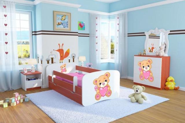 Dětská postel se zábranou Ourbaby - Méďa se srdíčkem - calvados