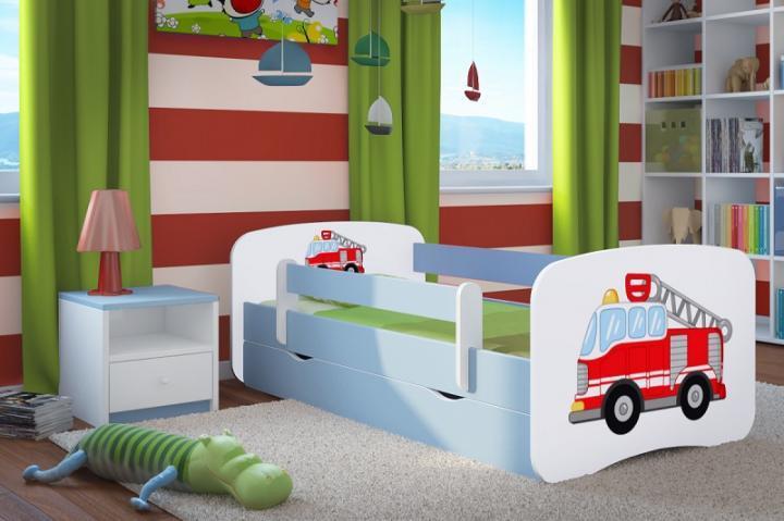 Forclaire Dětská postel se zábranou Ourbaby - Hasičské auto - modrá postel 160 x 70 cm