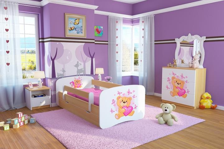 Forclaire Dětská postel se zábranou Ourbaby - Medvídek - buk postel 140 x 70 cm