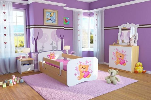 Dětská postel se zábranou Ourbaby - Medvídek - buk