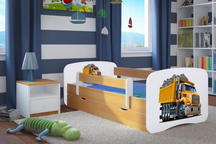 Forclaire Dětská postel se zábranou Ourbaby - Náklaďák postel 140 x 70 cm s úložným prostorem
