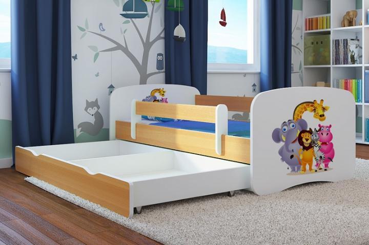 Forclaire Dětská postel se zábranou Ourbaby - ZOO III postel 140 x 70 cm + kupón KONDELA10 na okamžitou slevu 10% (kupón uplatníte v košíku)