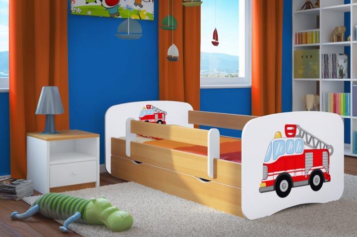 Forclaire Dětská postel se zábranou Ourbaby - Hasičské auto - buk postel 140 x 70 cm + kupón KONDELA10 na okamžitou slevu 10% (kupón uplatníte v košíku)