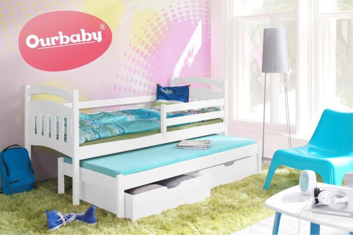Forclaire Dětská postel Ourbaby s přistýlkou Marco I - Bílá 180x80