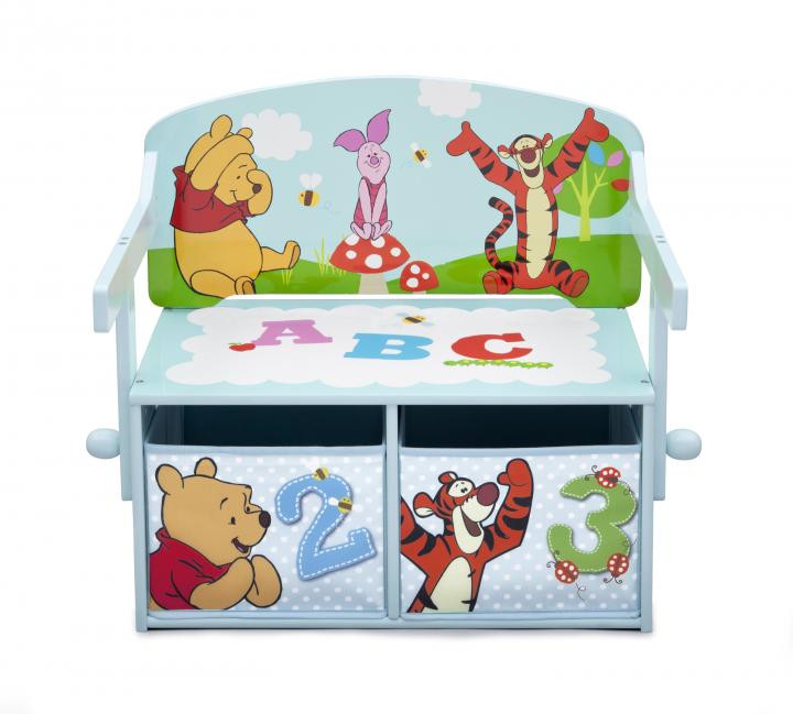 Forclaire Dětská lavice s úložným prostorem Medvídek Pú