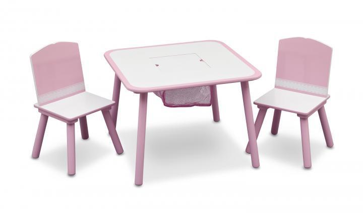 Forclaire Dětský stůl s židlemi růžový