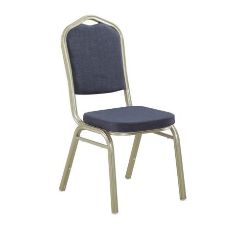 Židle, stohovatelná, látka šedá / rám champagne, ZINA NEW