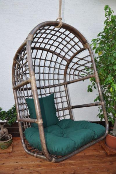Axin Trading Závěsná houpačka ratanová brown L polstr zelený dralon