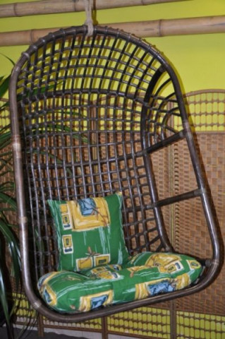 Závěsná houpačka ratanová brown XL - polstr zelený list
