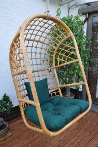 Axin Trading Závěsná houpačka ratanová medová XL polstr zelený dralon