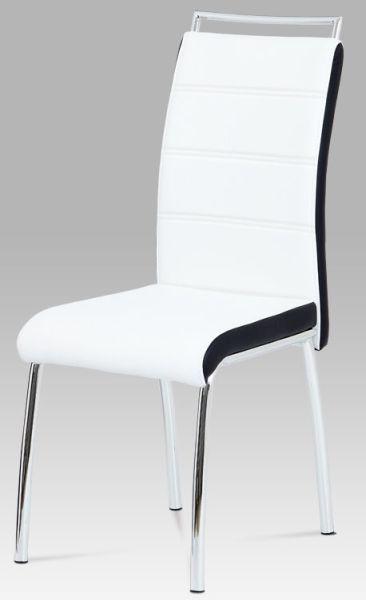 Autronic Jídelní židle DCL-403 WT - koženka bílá/černý bok
