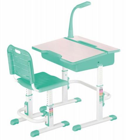 Psací stůl se židlí ASTRO 2 - zelený - Ilustrační fotografie - lampička není součástí stolku