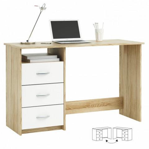 PC stůl LARISTOTE - dub sonoma/bílá