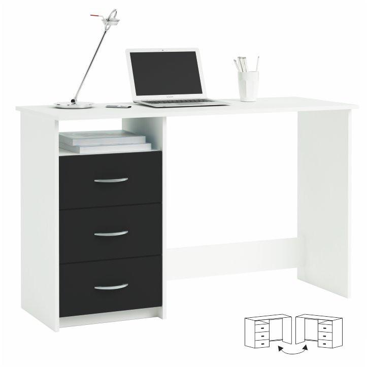 PC stůl LARISTOTE - bílá/černá