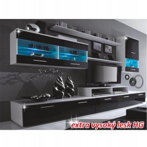 Obývací stěna LEO - bílá/černá
