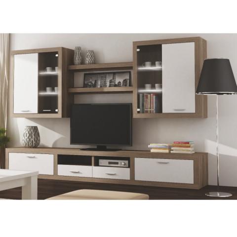 Obývací stěna CANCAN NEW - dub sonoma truflový/bílá