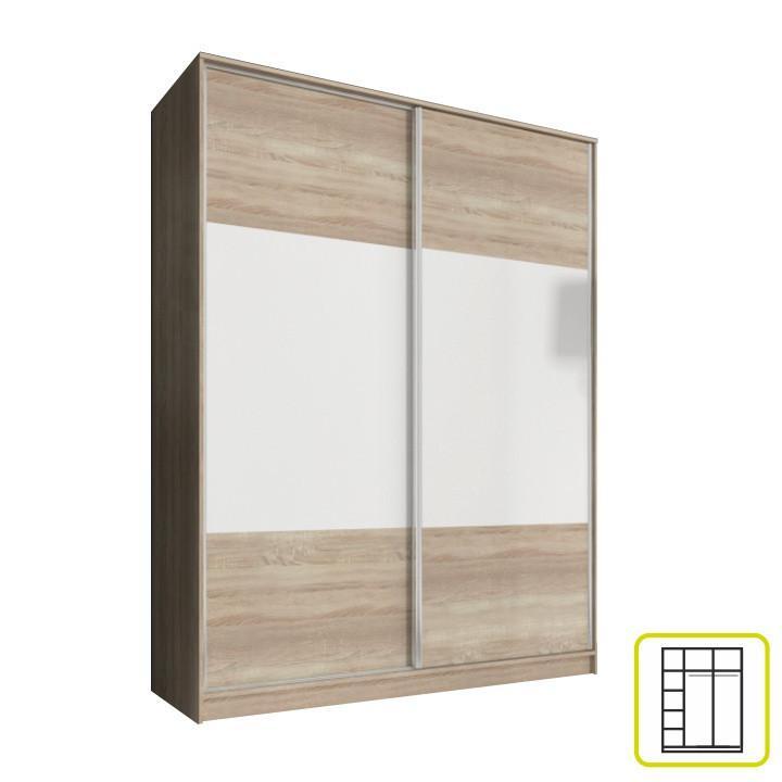 Skříň AVA 160 cm - dub sonoma/bílá