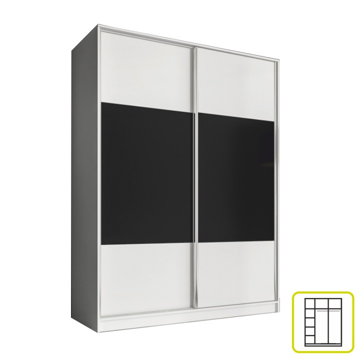 Tempo Kondela Skříň AVA 160 cm - bílá/černá