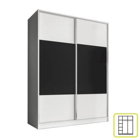Skříň AVA 160 cm - bílá/černá
