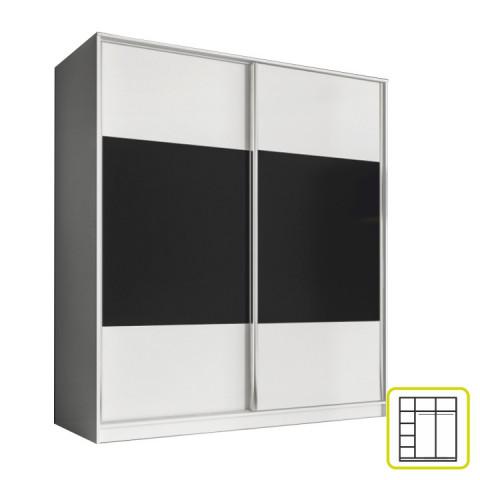 Skříň AVA 180 cm - bílá/černá