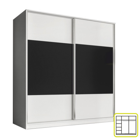 Skříň AVA 200 cm - bílá/černá