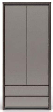 Skříň Kaspian SZF2D2S - Wenge/šedý vysoký lesk