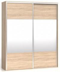 Šatní skříň F19 SZF2D/200 - Korpus Dub sonoma, dveře Dub sonoma/zrcadlo.