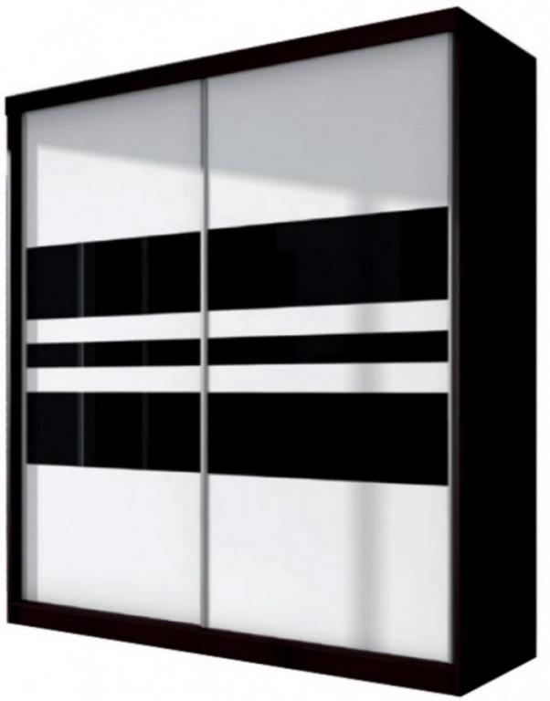 Šatní skříň Multi 01 dub cambridge/černé sklo