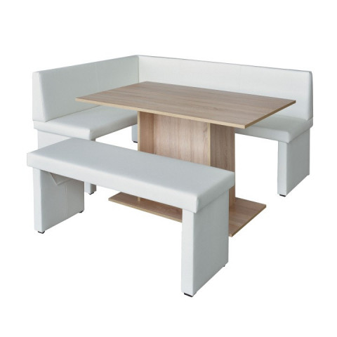 Rohová lavice MODERN bílá - PRAVÁ - + stůl Modern + lavice Modern